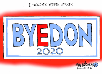 Political Cartoon U.S. 2020 election Byedon Biden bumper sticker