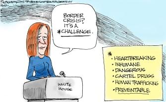 Political Cartoon U.S. biden border crisis jen psaki