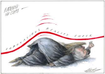 Political Cartoon U.S. Trump Coronavirus White House press briefings reality check flattening the curve