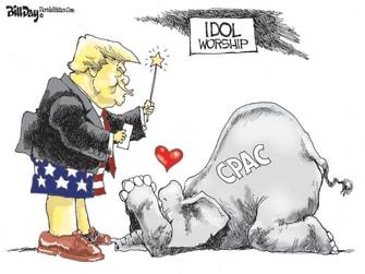 Political Cartoon U.S. trump gop cpac