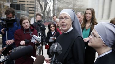 Little Sisters of the Poor speak with reporters in Colorado