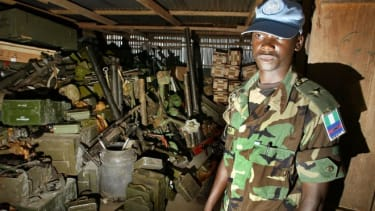 A cache of weapons in Nigeria: The arms treaty would make it more difficult for illicit arms to cross borders.