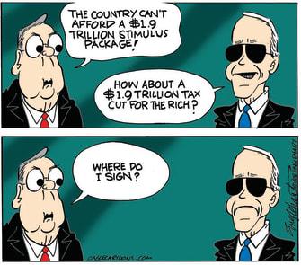 Political Cartoon U.S. Biden McConnell covid stimulus