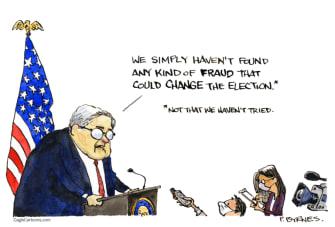 Political Cartoon U.S. Barr Trump election fraud
