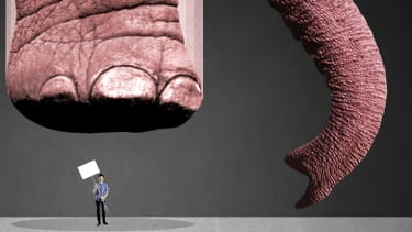 An elephant stepping on a protester.