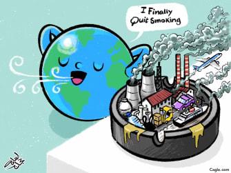 Editorial Cartoon U.S. coronavirus environmental consequence carbon fuels down Earth