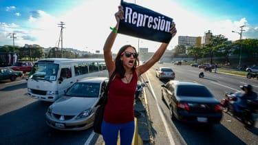 A protester in Venezuela.