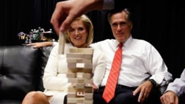 Mitt Romney playing Jenga before the Oct. 3 debate