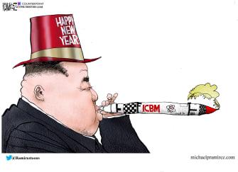 Political Cartoon U.S. Kim Jong Un New Year's Nuclear Missile