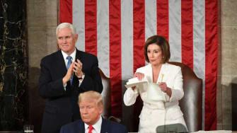 Nancy Pelosi rips up Trump's speech.