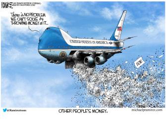 Political Cartoon U.S. democrats spending