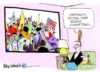 Political Cartoon U.S. trump biden competence cartoonists