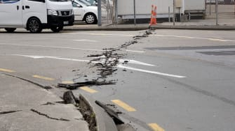 A crack in the road on South Island, New Zealand.