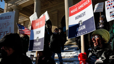A protest against the Electoral College in 2016 in Michigan.