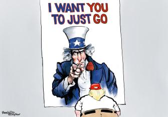 Political Cartoon U.S. Trump Uncle Sam election loss