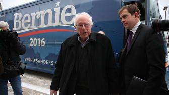 Bernie Sanders steps off his bus in Iowa.