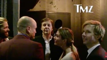 Paul McCartney before he was not allowed inside Tyga's Grammy afterparty.