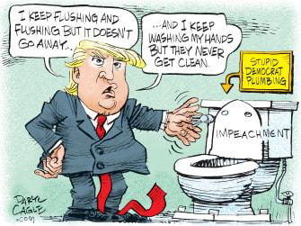 Political Cartoon U.S. Trump Impeachment Toilet