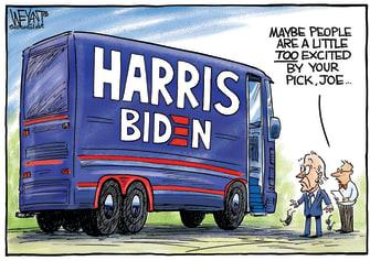 Political Cartoon U.S. Joe Biden Kamala Harris Campaign Bus Vice President
