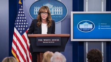 Allison Janney makes guest appearance in the White House for press conference.
