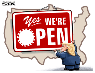 Political Cartoon U.S. Trump America Coronavirus open business sign
