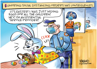 Editorial Cartoon U.S. Easter Bunny COVID-19 social distancing police essential workers