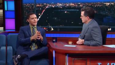 Stephen Colbert and Trevor Noah talk shooting