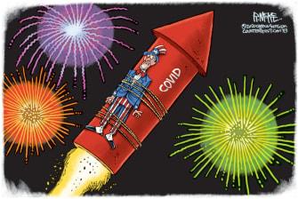 Editorial Cartoon U.S. Covid Fourth of July