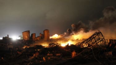 The remains of a fertilizer plant after an explosion at the plant in the town of West, near Waco, Texas.