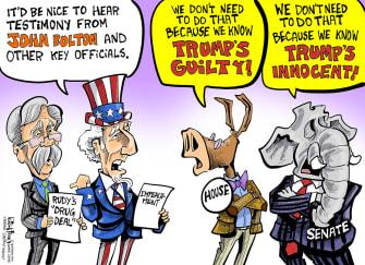 Political Cartoon U.S. Trump John Bolton Impeachment