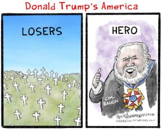 Political Cartoon U.S. Trump Rush Limbaugh losers suckers