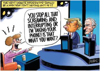 Political Cartoon U.S. Trump Biden debate moderator