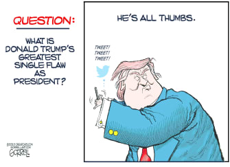 Political Cartoon U.S. Trump tweeting flaw
