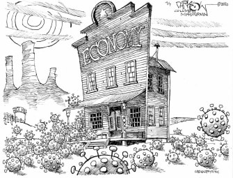Editorial Cartoon U.S. Economy wild west coronavirus no regulations free range