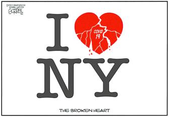 Editorial Cartoon U.S. I love NY broken heart coronavirus pandemic