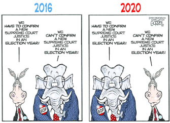 Political Cartoon U.S. GOP Democrats Ruth Bader Ginsburg Merrick Garland
