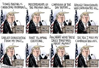 Political Cartoon U.S. Trump coronavirus press briefings