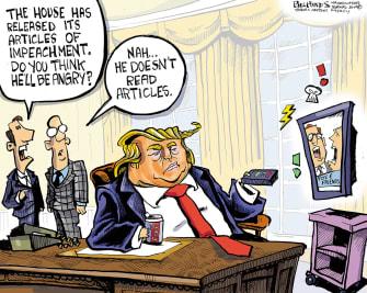 Political Cartoon U.S. Trump Impeachment Articles Does Not Read