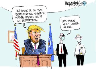 Political Cartoon U.S. Trump Obama coronavirus