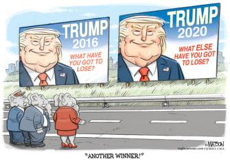 Political Cartoon U.S. Trump 2020 campaign slogan GOP