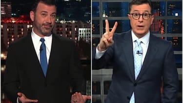 Jimmy Kimmel and Stephen Colbert mock Sean Hannity