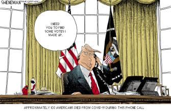 Political Cartoon U.S. Trump COVID Georgia call