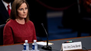 Supreme Court nominee Judge Amy Coney Barrett speaks during the second day of her Senate Judiciary committee confirmation hearing on Capitol Hill on October 13, 2020 in Washington, DC.
