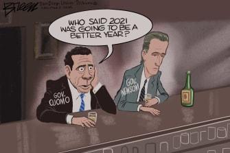 Political Cartoon U.S. cuomo newsom covid 2021