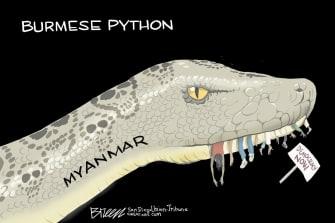 Editoral Cartoon U.S. myanmar coup