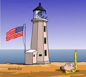 Political Cartoon U.S. Trump America COVID-19 light bulb light house broken