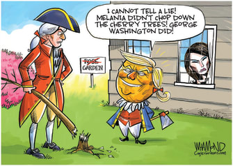 Political Cartoon U.S. Trump Melania rose garden