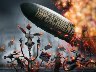 Political Cartoon U.S. Trump impeachment Democrats 2020 Hindenburg