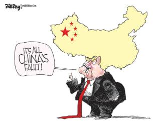 Political Cartoon U.S. Trump coronavirus China blame