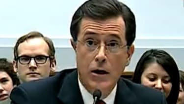 Stephen Colbert broke character, briefly, during his opening and closing statements.